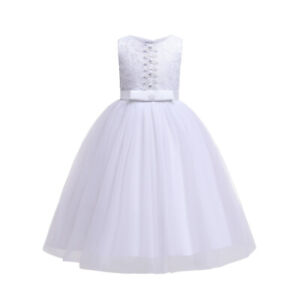 Holy Communion Dress White Lace Bridesmaid Dress Flower Girl Dress 7-13 Years