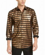 INC Mens Shirt Black Bronze Size Large L Metallic Striped Button Up $75 #100