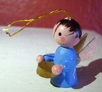 Little Boy Angel Miniature Wooden Ornament Christmas vintage 1990s