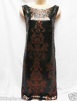 BNWT NEXT new RRP85 Black Gold Rust shift occasion evening sequin floral dress