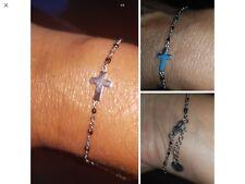 Bracelet Croix Chapelet Maille  Argent Acier Perle Résine Noires Ref Gigi3 Promo