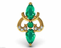 Certified Diamond Emerald Pendant Solid 18k Yellow Gold Designer Wedding Jewelry