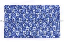 Indian leaf blue indigo hand block kantha quilt handmade bedspread queen size