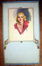 1930s Pin Up Girl Picture by Erbit Pastel Blond w/ Deco Border M