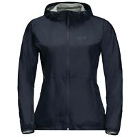 Jack Wolfskin JWP Breather Outdoor Waterproof Womens Coat Navy Blue - UK 8-10