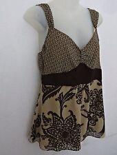 NWOT BANDALINO Women Brown Floral Empire Waist Boho Peasant Shirt Blouse Sz 10