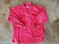 Vintage Marlboro Unlimited Mens Pullover Corduroy Shirt Jacket SZ L Red 1/2 Zip