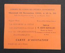 Carte d'invitation 1930 Congrès Joseph Barthélémy Droit réforme de l'Etat