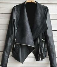 Women's Solid Faux Leather Basic Jackets