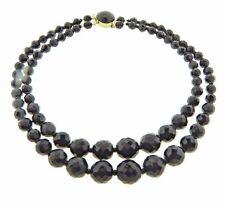 """Vintage Graduated Black Crystal Glass Double Strand Necklace .5x17"""""""