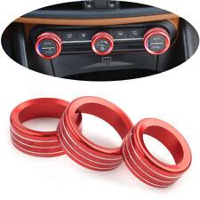 For Alfa Romeo Giulia Stelvio 2017-2020 red console AC switch knob ring trim 3pc