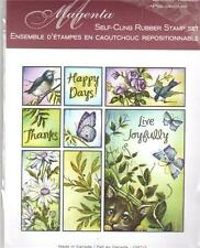 New MAGENTA RUBBER STAMP Cling Happy days bird cat botanical set free usa ship