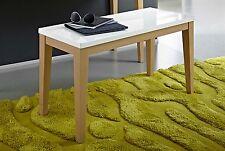 Sitzbank Bank Sitzkonsole Konsole Design SO229 Weiss Hochglanz teilmassiv Eiche