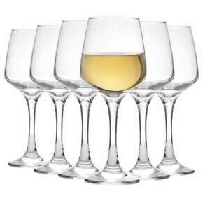 White Wine Glasses Contemporary Drinking Glass Set, 295 ml - Pack of 6
