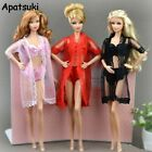 1SET Pajamas Lingerie Lace Long Coat Bra Underwear Clothes For 11.5in Doll Gown