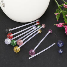 8Pcs Acrylic Bioflex Belly Button Rings-Extra Long Navel Barbell Piercing