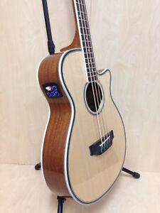 3/4 Size Haze FB-711BCEQ/N 4-String Electric-Acoustic Bass Guitar,Natural+Bag