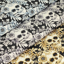 "Fat Quarter (18"" x 22"") Skeletons & Skulls Craft Fabrics"