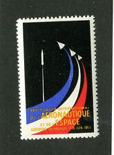 Poster Stamp Label SALON INTL L'AERONAUTIQUE L'ESPACE 1963 Airplanes Flight