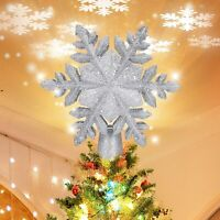 Christmas Tree Topper Star Lighted,Snowflake Projector with LED Rotating (Siver)