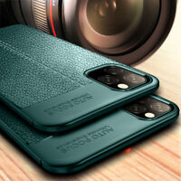For iPhone 11 Pro Max Silicone Rubber TPU Leather Texture Soft Back Cover Case