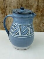 16CM BLUE STUDIO POTTERY MILK JUG IS STAMPED ON BASE, MAYBE DAVID FRITH