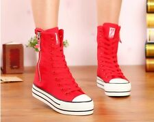 Girls SZ Canvas High Top Zip Creeper Platform Lace Up Womens Ankle Boots Sneaker