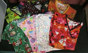 Lot of 9 Women's Size Small Holiday Scrub Tops Nurse Valentines Day, Easter.....