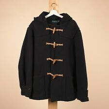 Vintage POLO RALPH LAUREN Navy Blue Wool Mix Hooded Overcoat Men's L R39033