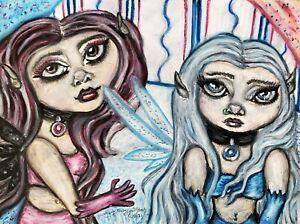 PASTEL GOTH FAERIES Original 9x12 Pastel Painting Gothic Art Signed Artist Fairy