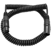3 Foot Coiled Black XLR Microphone Cable - Extends to 15 Feet Boom Stand Cord