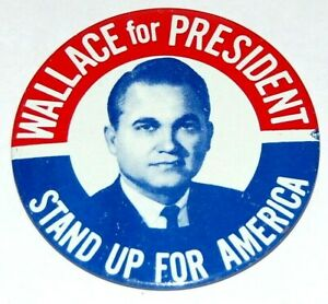 """1968 GEORGE WALLACE 3"""" INCH campaign pin pinback button political presidential"""