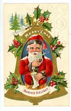 Merry Christmas-RED SUIT SANTA SMOKING PIPE-Embossed Postcard Babies Delight