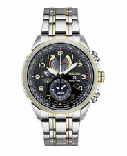 New Seiko SSC508 Prospex World Time Solar Chronograph Two Tone Men's Watch