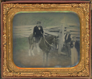 RARE HAND COLORED OUTDOOR SCENE AMBROTYPE PHOTO MAN HORSE SPLIT RAIL FENCE