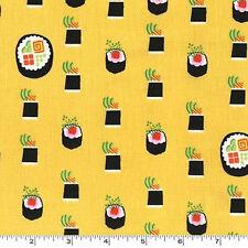 FAT QUARTER-Maki Sushi Bamboo Yellow Japan Fabric Michael Miller DC7464-BAMB-D