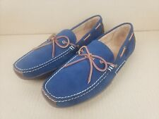 Polo Ralph Lauren Wyndings Leather Loafers Driving Mens Shoes Navy Brown Size 14