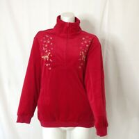 Vintage Anthony Richards Womens Red Pullover Velvet Sweat Shirt Size XL