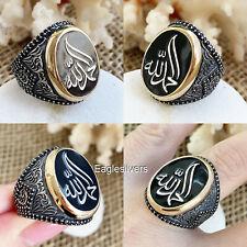 Agradecer Dios en Árabe Caligrafía 925 Plata de Ley Hombre Mujer Anillo الحمد