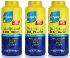 3 x Medipure Medicated Body Powder 100% Talc Free Soothing Treatment 200g