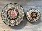 Lot of 2 Vintage Metal Tin Daher Floral Round Mosaic Made in England Excellent