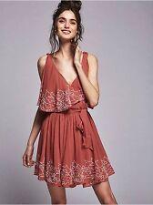 New Free People Sylvia Beaded Mini Wrap Dress L Retail  $168.00
