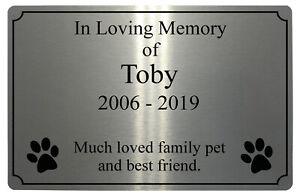 Custom Personalised Memorial Pets Dog Cat Paw Prints Metal Aluminium Plaque Sign