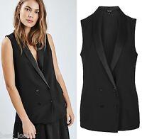 Topshop Black Double Breasted Sleeveless Jacket Blazer Size 6 to 16