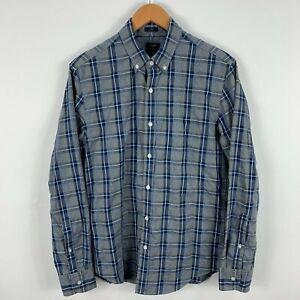 J Crew Mens Button Up Shirt Size Medium Slim Blue Grey Plaid Long Sleeve 22.19