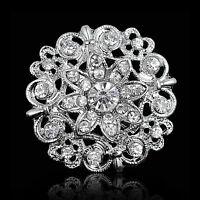 Chic Wedding Rhinestone Crystal Bridal Flower Bouquet Silver Flower Brooch Pin