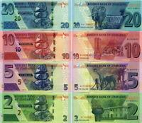 ZIMBABWE - Lotto 4 banconote 2/5/10/20 Dollars 2019/2020 FDS - UNC