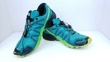 Salomon Speedcross 4 Mens Trail Running Shoes Size 9 Aqua Blue with Neon Green