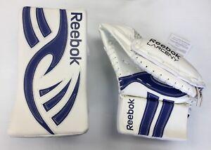 New Reebok Larceny Pro intermediate blocker glove blue ice hockey goalie catcher