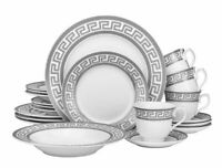 20 Piece Platinum Greek Key Bone China Dinner Serving Dish Set for 4 - White